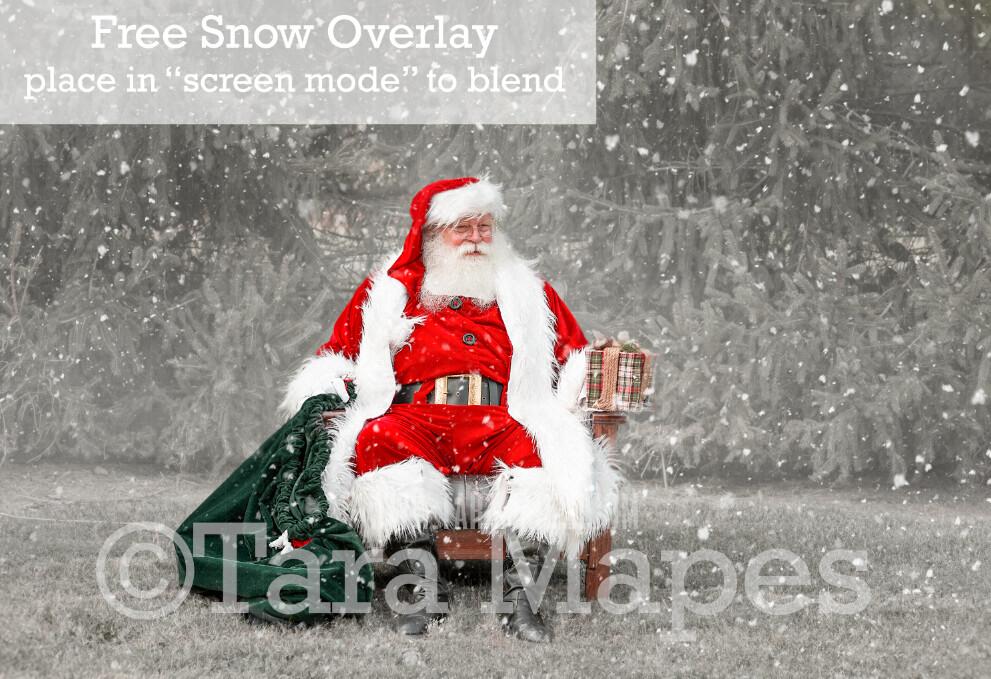 Santa Digital Backdrop - Santa Giving Gift by Tree - Free Snow Overlay Included - Christmas Digital Backdrop by Tara Mapes
