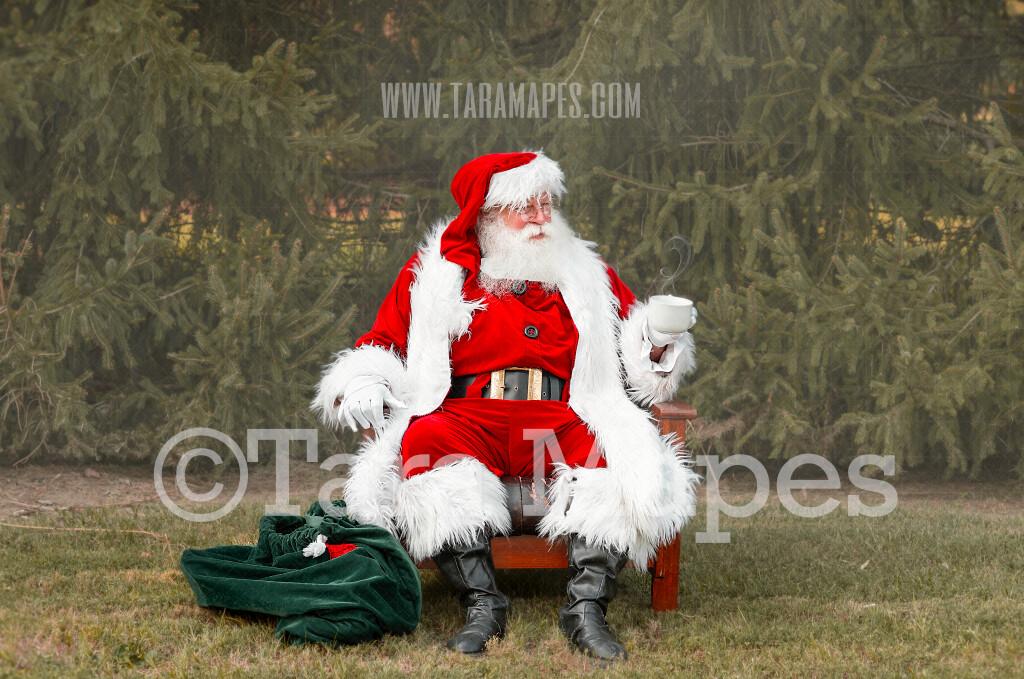 Santa Digital Backdrop - Santa Giving with Cocoa by Pines - Santa at the North Pole Christmas Digital Backdrop by Tara Mapes