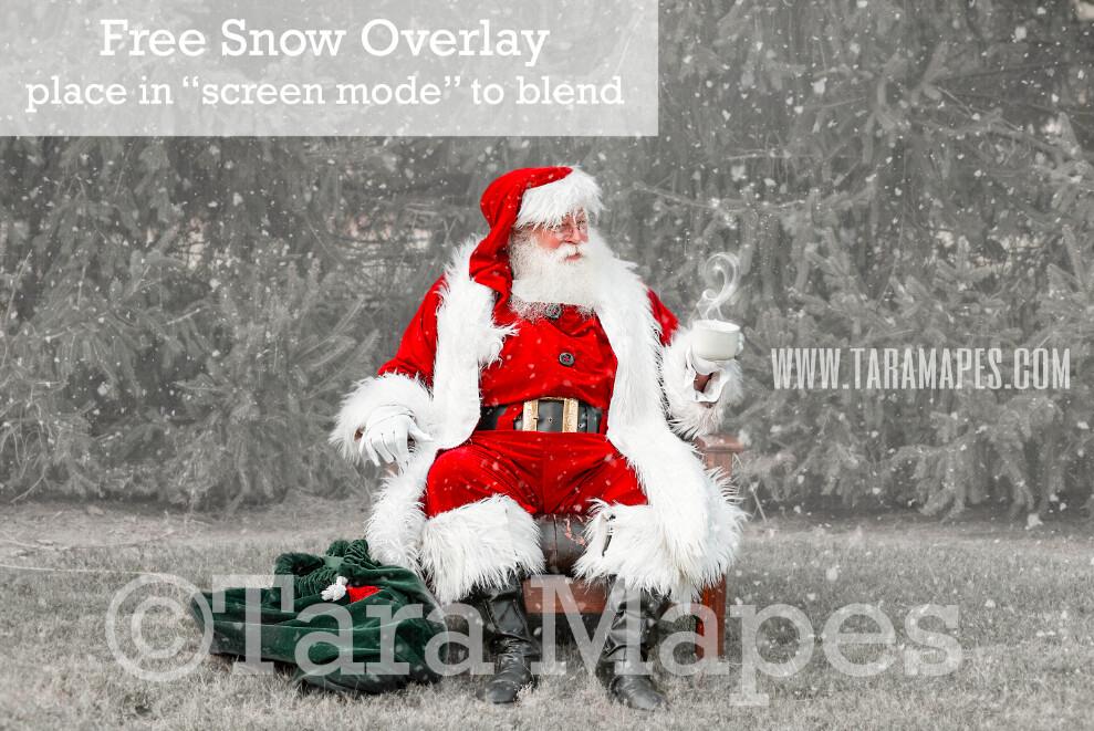 Santa Digital Backdrop - Santa Giving with Cup of Magic Cocoa by Pines - Free Snow Overlay Included - Santa at North Pole Christmas Digital Backdrop by Tara Mapes