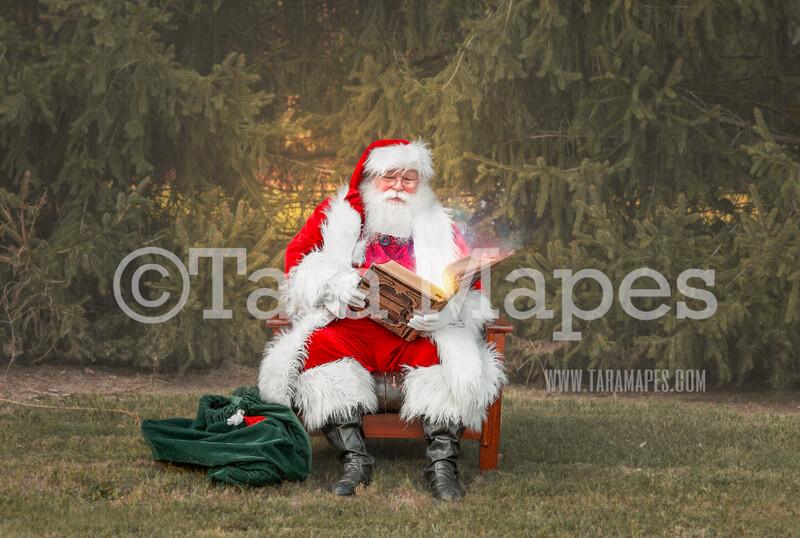 Santa Digital Backdrop - Santa Reading Magic Book by Pines - Santa at the North Pole Christmas Digital Backdrop by Tara Mapes