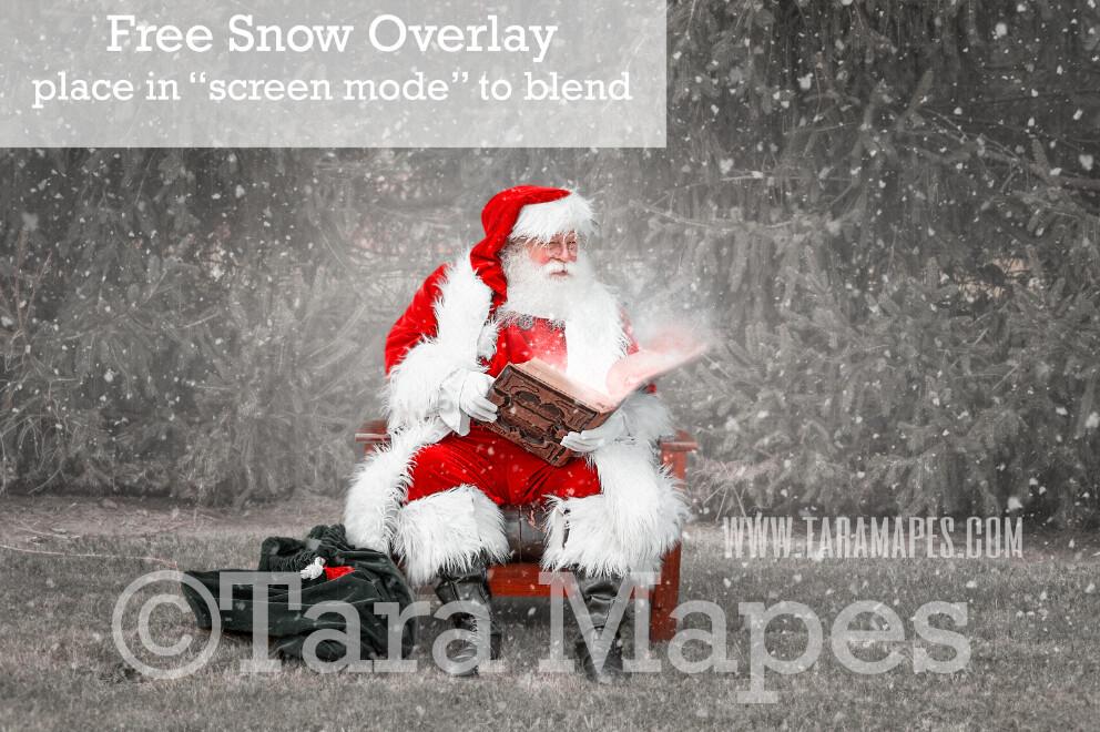 Santa Digital Backdrop - Santa Reading Magic Book by Pines - Free Snow Overlay Included - Santa at North Pole Christmas Digital Backdrop by Tara Mapes