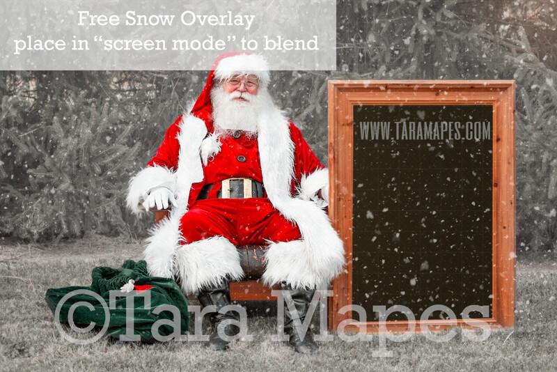 Santa Frame Digital Backdrop - Santa Holding Frame - Free Snow Overlay Included - Santa Christmas Digital Backdrop by Tara Mapes