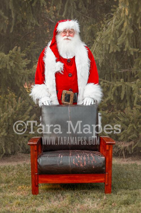 Santa Digital Backdrop - Santa Standing Behind Chair - Santa Christmas Digital Backdrop by Tara Mapes