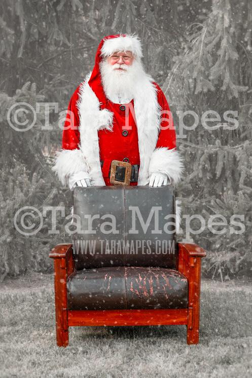 Santa Standing Behind Chair Digital Backdrop - Santa Chair - Free Snow Overlay Included - Santa Christmas Digital Backdrop by Tara Mapes