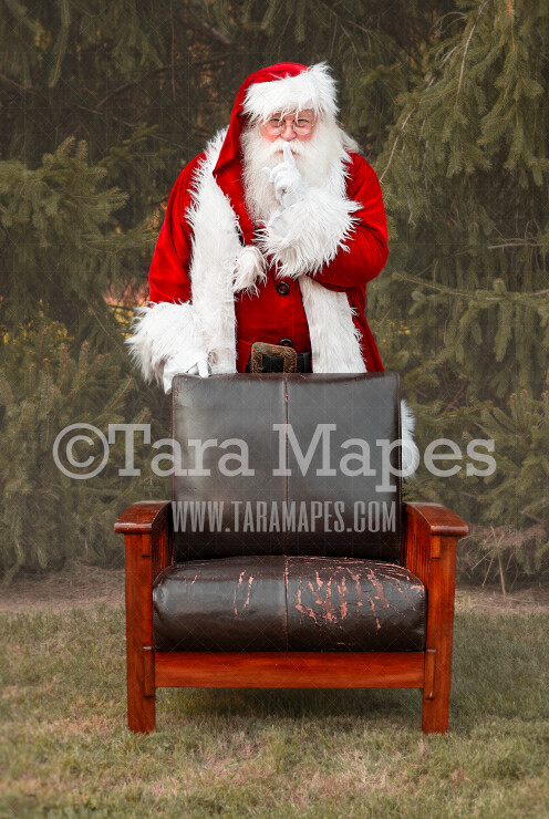 Santa Digital Backdrop - Santa Standing Shh Behind Chair - Santa Christmas Digital Backdrop by Tara Mapes