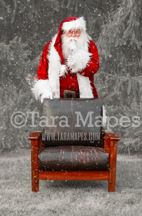 Santa Standing Behind Chair Shh Digital Backdrop - Santa Chair - Free Snow Overlay Included - Santa Christmas Digital Backdrop by Tara Mapes