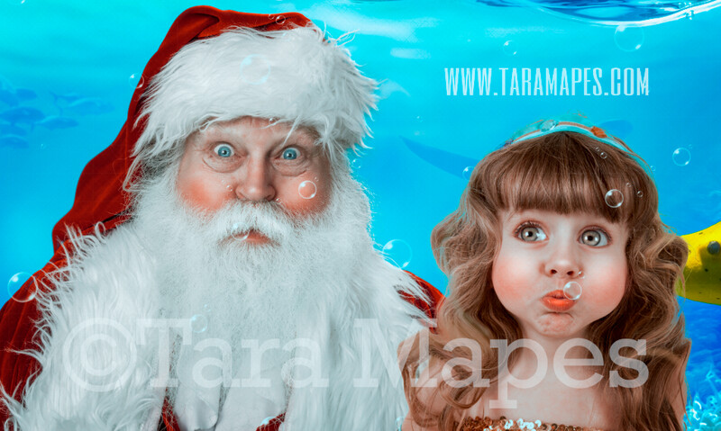 Scuba Santa Digital Background - Santa Underwater Holding Breath - Beach Santa - Summer Santa Digital Background Backdrop