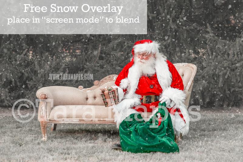 Santa Digital Backdrop - Santa Sitting on Couch with Gift- Free Snow Overlay Included - Santa Christmas Digital Backdrop by Tara Mapes