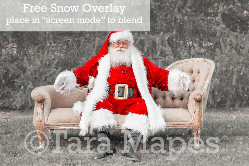 Santa Digital Backdrop - Santa Sitting on Couch - Free Snow Overlay Included - Santa Christmas Digital Backdrop by Tara Mapes