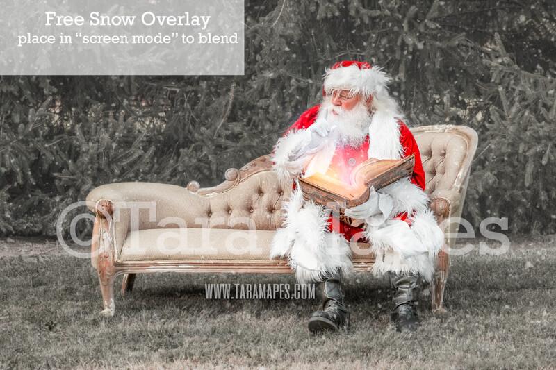 Santa Digital Backdrop - Santa Reading Magic Book on Couch - Free Snow Overlay Included - Santa Christmas Digital Backdrop by Tara Mapes