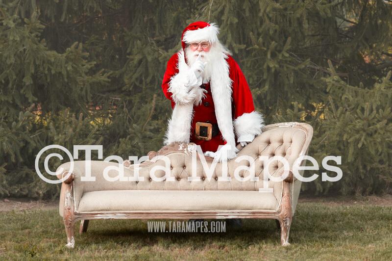 Santa Digital Backdrop - Santa Behind Couch Saying Shh - Santa Christmas Digital Backdrop by Tara Mapes
