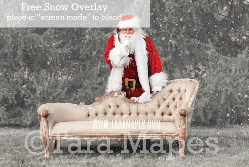 Santa Digital Backdrop - Santa Saying Shhh Behind Couch - Free Snow Overlay Included - Santa Christmas Digital Backdrop by Tara Mapes