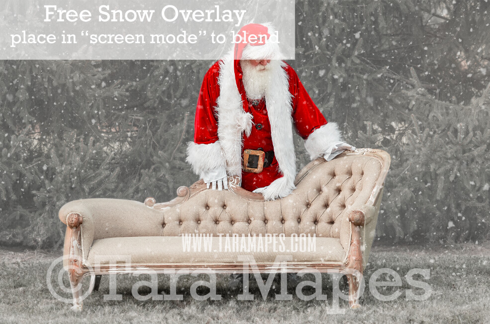 Santa Digital Backdrop - Santa Behind Couch - Free Snow Overlay Included - Santa Christmas Digital Backdrop by Tara Mapes