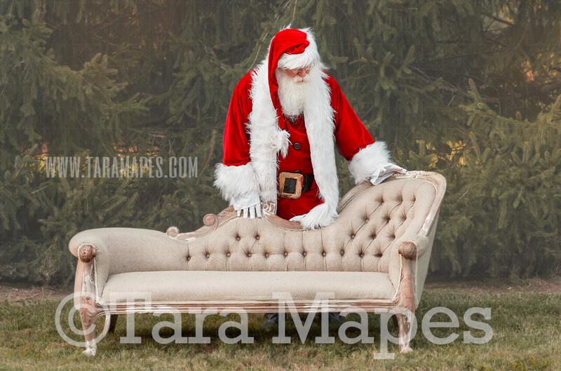 Santa Digital Backdrop - Santa Behind Couch  - Santa Christmas Digital Backdrop by Tara Mapes