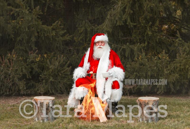 Santa Digital Backdrop - Santa Roasting Marshmallows - Roasting Marshmallows with Santa Christmas Digital Backdrop by Tara Mapes