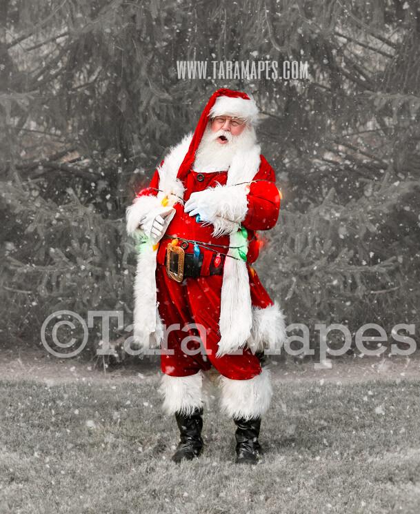 Santa Digital Backdrop - Santa Tied up with Christmas Lights - Funny Santa Backdrop - Free Snow Overlay Included - Santa Christmas Digital Backdrop by Tara Mapes