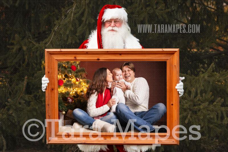 Santa Frame Digital Backdrop - Santa Holding Frame - Free Tutorial Link Below - Santa Christmas Digital Backdrop by Tara Mapes