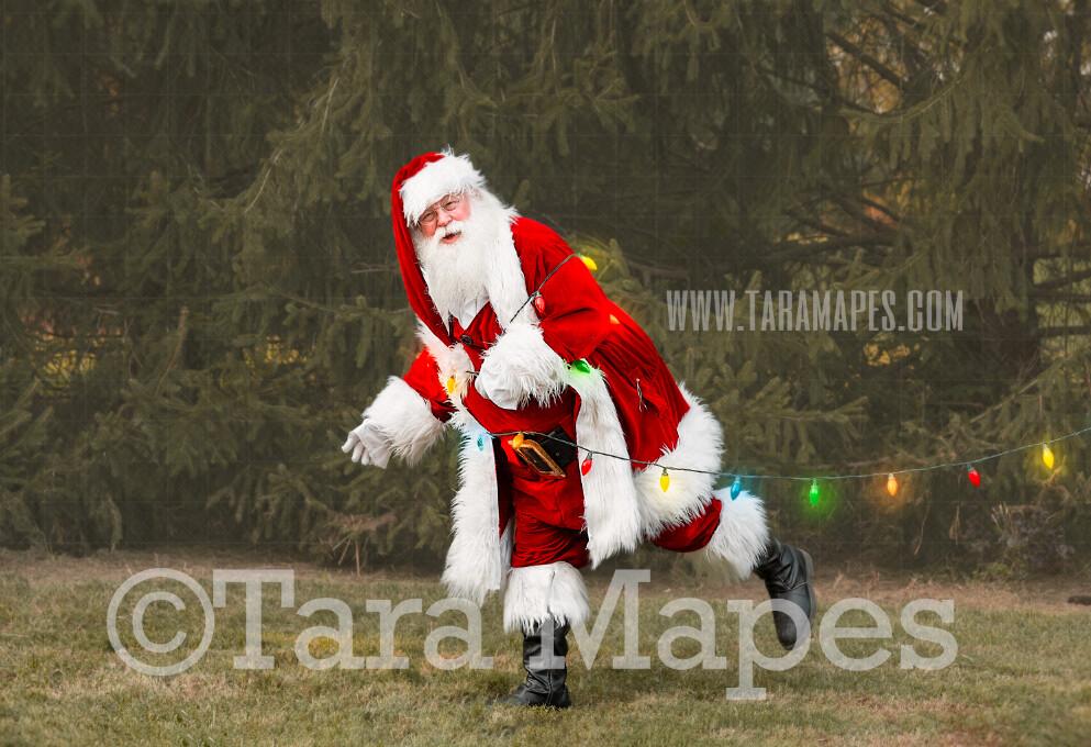Santa Digital Backdrop - Santa Tied Up with Christmas Lights - Funny Santa Tied Up - Christmas Digital Backdrop by Tara Mapes
