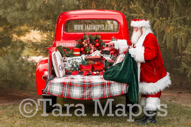 Santa Digital Backdrop - Red Vintage Truck Digital Backdrop - Santa Giving Truck Toy - Christmas Truck in Tree Farm Holiday Family Digital Background Backdrop