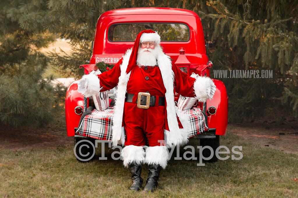 Santa Digital Backdrop - Red Vintage Truck Digital Backdrop - Santa Hug - Christmas Truck in Tree Farm Holiday Family Digital Background Backdrop