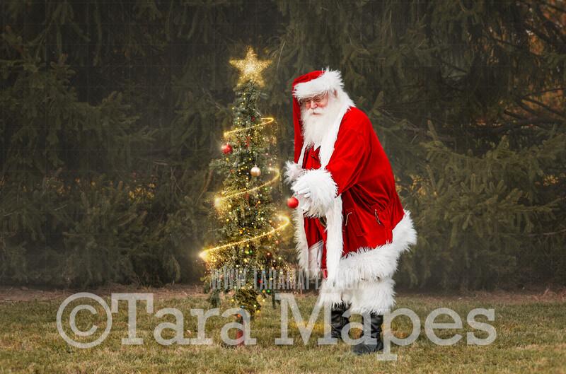 Santa Digital Backdrop - Santa Decorating Tree with Ornaments and Christmas Lights - Christmas Digital Backdrop by Tara Mapes