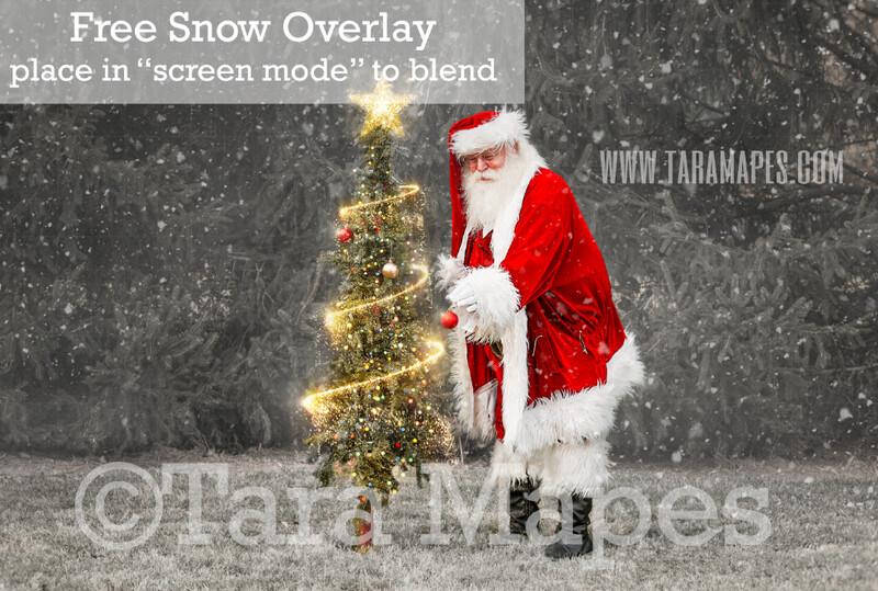 Santa Digital Backdrop - Santa Decorating Christmas Tree - Free Snow Overlay Included - Santa Christmas Digital Backdrop by Tara Mapes