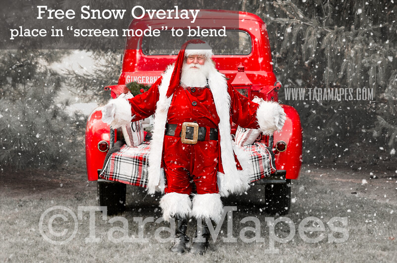 Santa Vintage Red Christmas Truck Digital Backdrop - Santa by Vintage Christmas Truck - Christmas Truck in Tree Farm - with Free Snow Overlay - Christmas Digital Background
