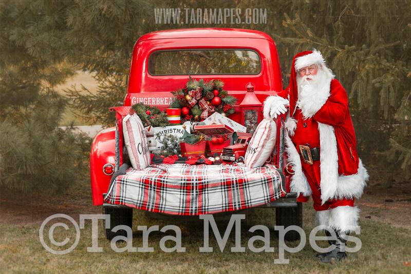 Santa Digital Backdrop - Red Vintage Truck Digital Backdrop - Santa Reading Book - Christmas Truck in Tree Farm Holiday Family Digital Background Backdrop