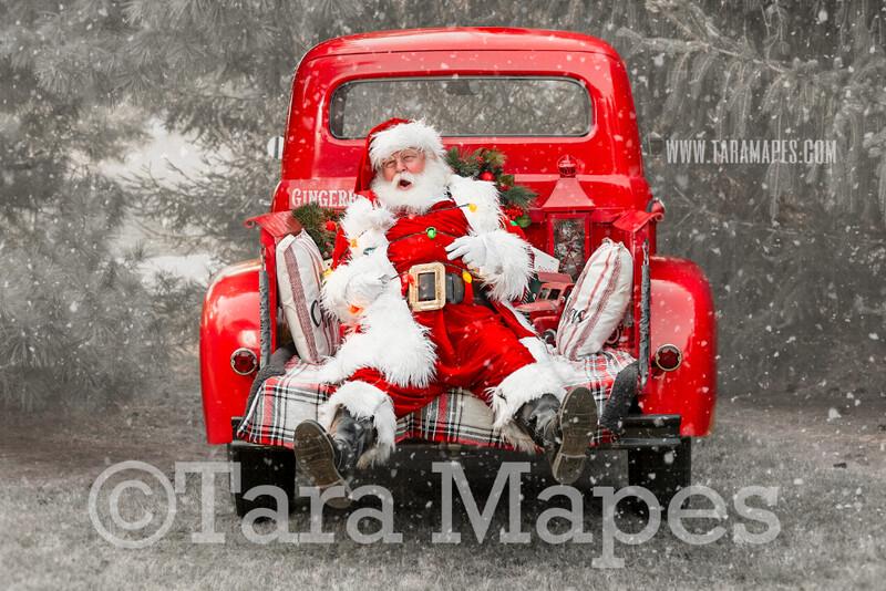 Santa Digital Backdrop - Santa Tied Up in Christmas Lights - Vintage Red Christmas Truck Digital Backdrop - Christmas Truck in Tree Farm - with Free Snow Overlay - Christmas Digital Background
