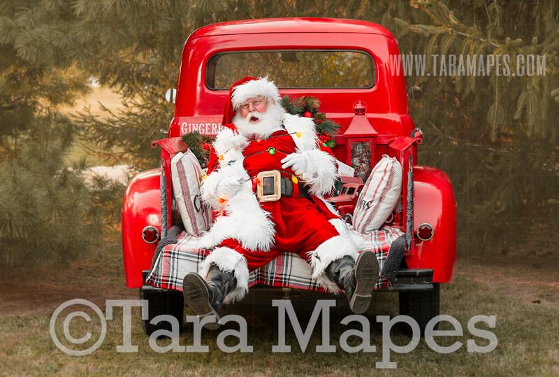 Santa Digital Backdrop - Santa Tied Up in Christmas Lights in Red Vintage Truck Digital Backdrop - Christmas Truck in Tree Farm Holiday Family Digital Background Backdrop