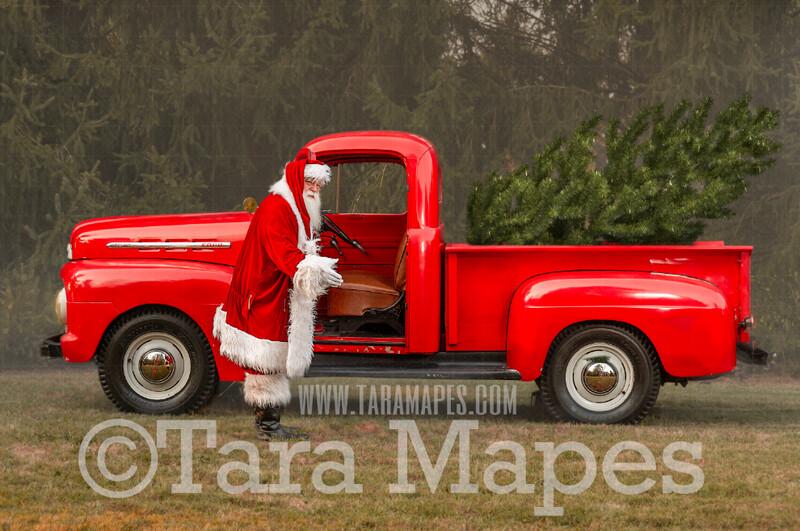 Santa Digital Backdrop - Santa's Truck- Christmas Truck in Tree Farm Holiday Family Digital Background Backdrop