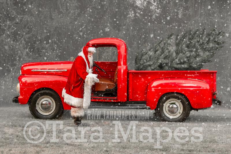 Santa Digital Backdrop - Santa's Truck - Vintage Red Christmas Truck Digital Backdrop - Christmas Truck in Tree Farm - with Free Snow Overlay - Christmas Digital Background