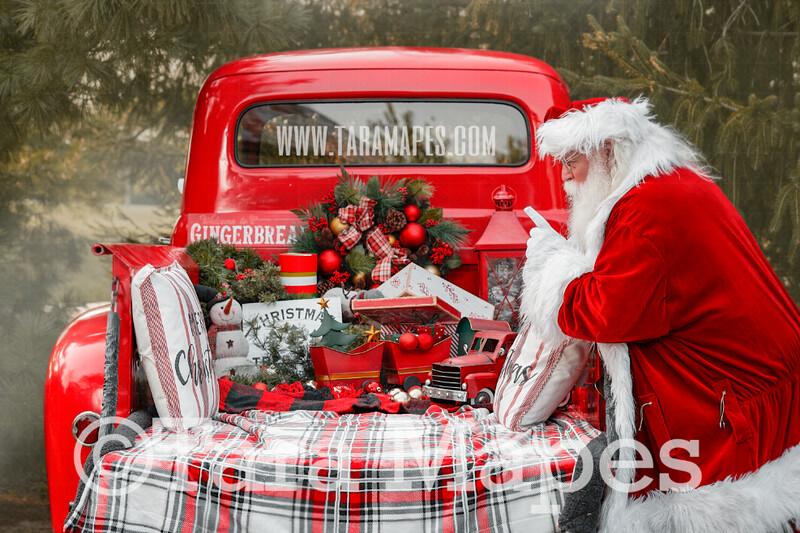 Santa Digital Backdrop - Santa Saying Shh by Red Vintage Truck Digital Backdrop - Christmas Truck in Tree Farm Holiday Family Digital Background Backdrop