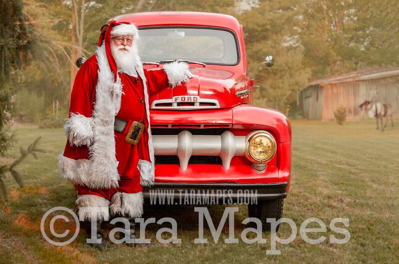 Santa Digital Backdrop - Santa's Truck - Vintage Red Christmas Truck Digital Backdrop - Christmas Truck in Tree Farm - Christmas Digital Background