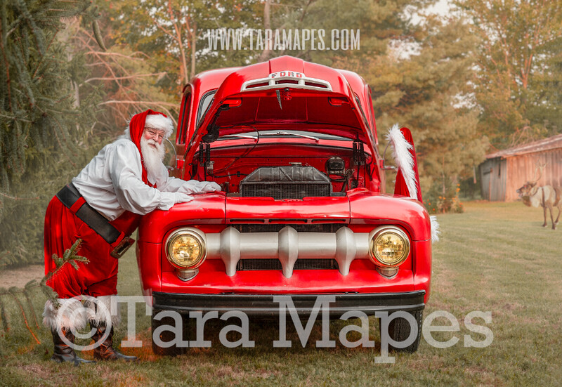 Santa Digital Backdrop - Working on Santa's Truck - Santa Vintage Red Christmas Truck Digital Backdrop - Christmas Truck in Tree Farm - Christmas Digital Background