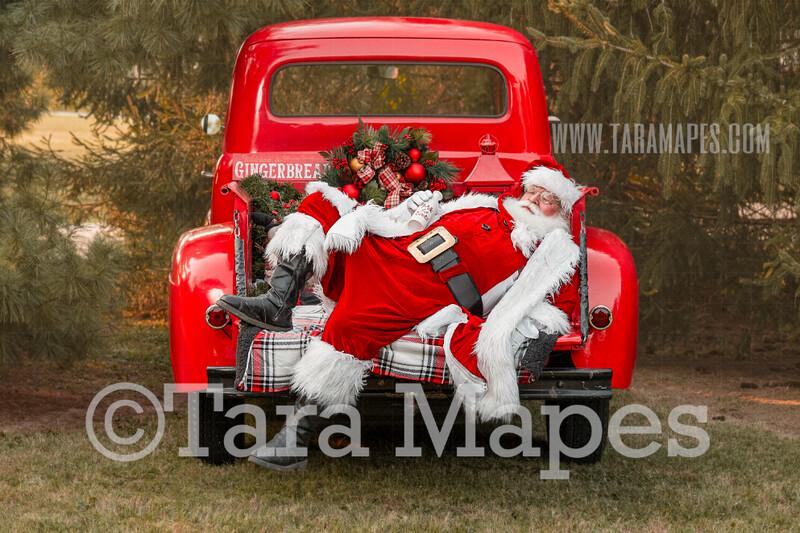 Santa Digital Backdrop - Santa Sleeping in Christmas Truck - Vintage Red Christmas Truck Digital Backdrop - Christmas Truck in Tree Farm - Christmas Digital Background