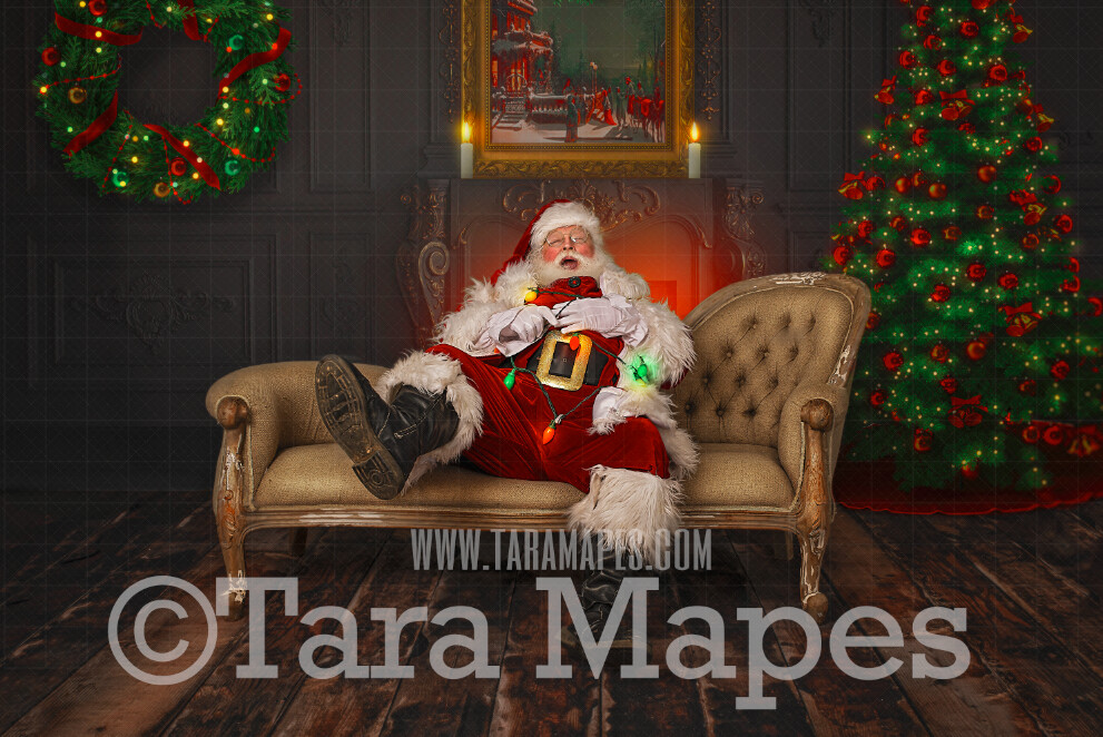 Santa Digital Backdrop - Santa Tied Up in Christmas Lights- Catching Santa - Santa on Couch- Christmas Digital Background by Tara Mapes