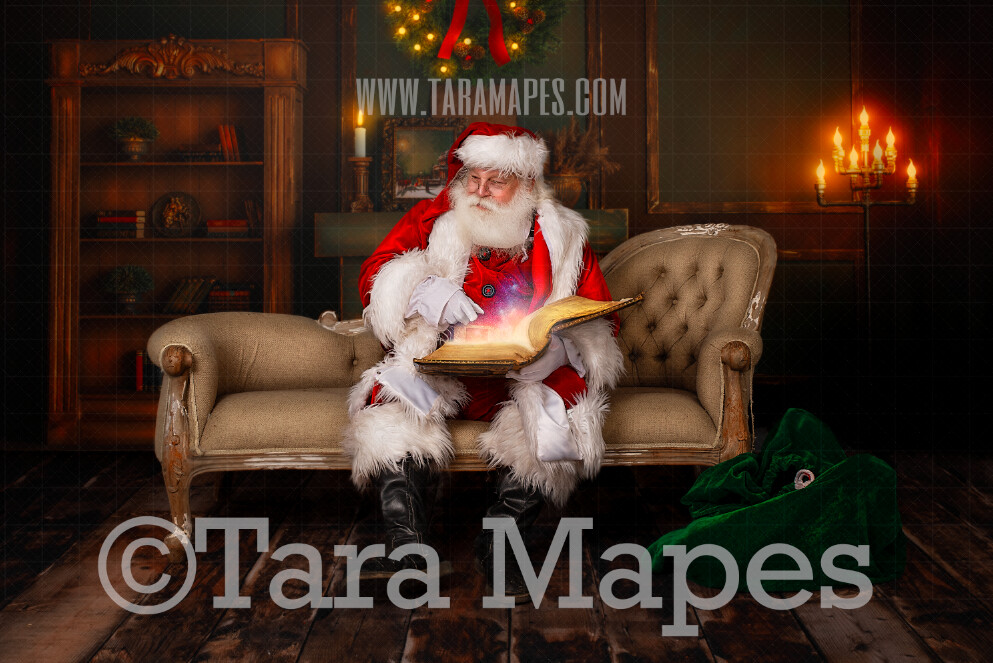 Santa Digital Backdrop - Santa Reading Magic Book on Couch- Christmas Digital Backdrop - Santa on Couch- Christmas Digital Background by Tara Mapes