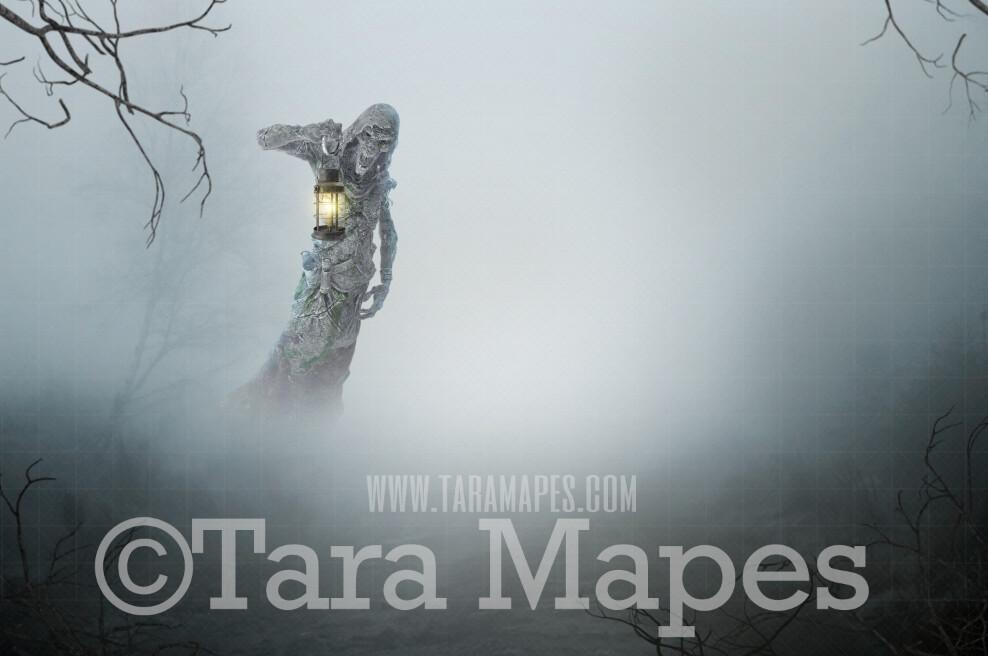 Halloween Digital Backdrop - Ghost in the Graveyard- Skeleton Graveyard Haunt-  Foggy Graveyard Halloween Digital Background