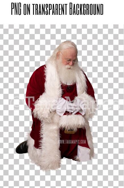 Santa Overlay PNG - Santa Kneeling Overlay - Santa Clip Art - Santa Cut Out  - Christmas Overlay - Santa PNG - Christmas Overlay