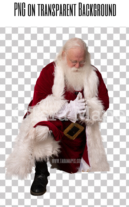 Santa Overlay PNG - Santa Kneeling - Santa Praying Overlay - Santa Clip Art - Santa Cut Out  - Christmas Overlay - Santa PNG - Christmas Overlay