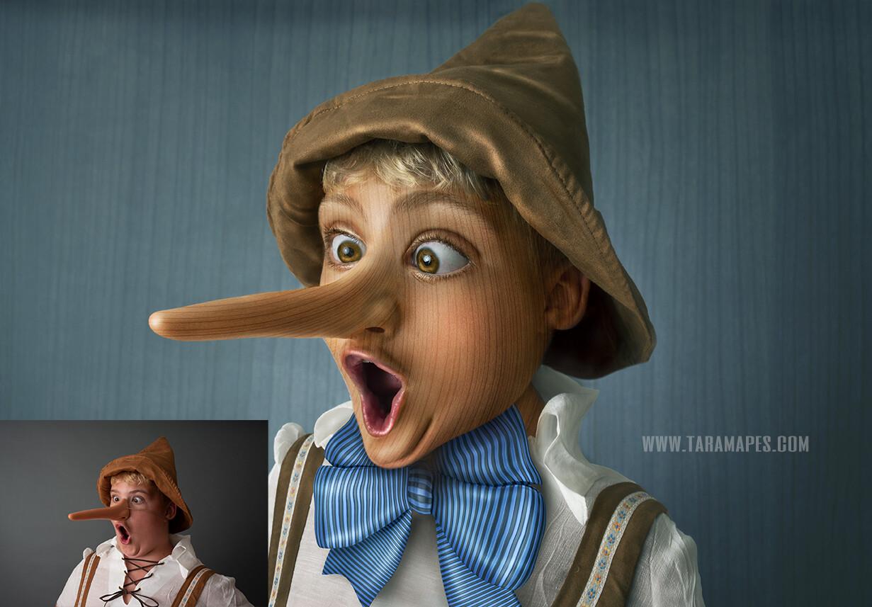 Pinnochio Caricature Tutorial by Tara Mapes - Photomanipulation and Surreal Editing Tutorial
