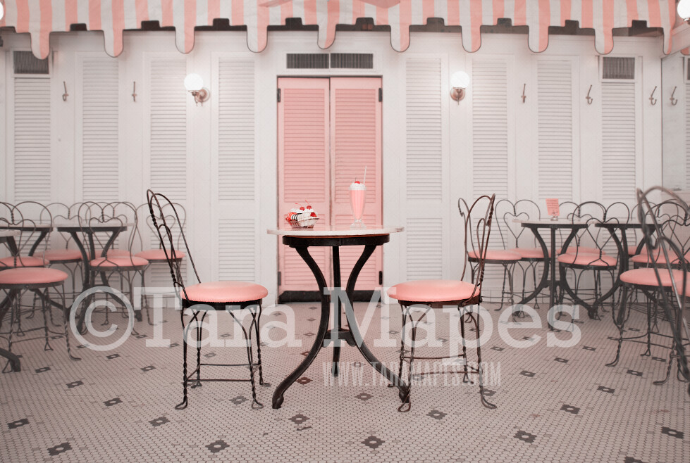 Old Fashioned Ice Cream Parlor Digital Backdrop - Fifties Ice Cream Parlor - Vintage Ice Cream Shop Digital Background Backdrop