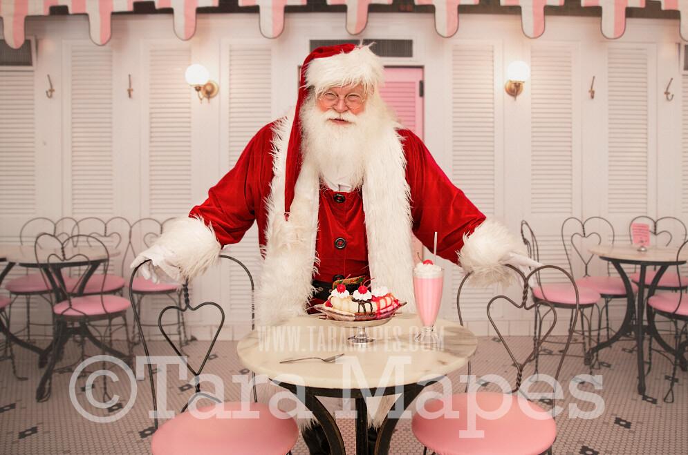 Santa Digital Backdrop - Santa in Old Fashioned Ice Cream Parlor - Fifties Ice Cream Parlor - Ice Cream Shop Santa - Vintage Christmas Digital Background Backdrop