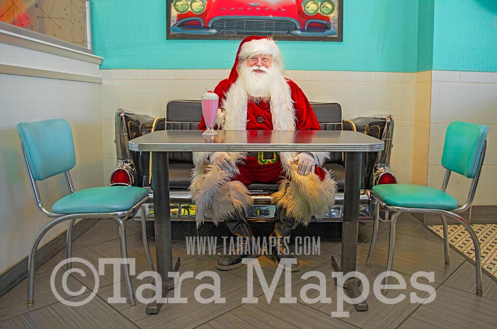 Santa Digital Backdrop - Santa in Fifties Diner- 50s Diner Santa- Vintage Christmas Digital Background Backdrop