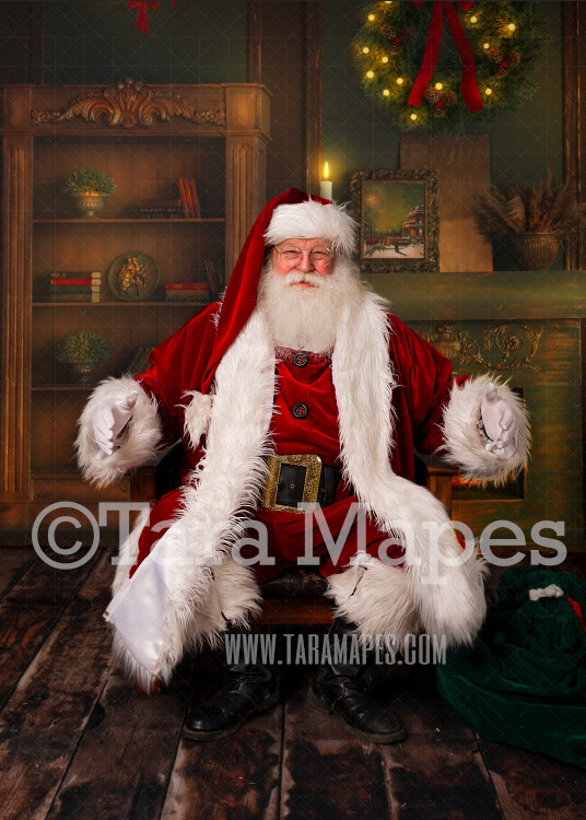 Santa Digital Backdrop - Santa in Vintage Room by Fireplace - Santa Sitting in Leather Chair - Christmas Digital Background by Tara Mapes