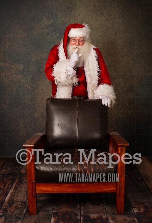 Santa Digital Backdrop - Santa Behind Chair  - Santa Saying Shh - Christmas Digital Background by Tara Mapes