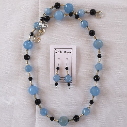 Blue Agate, Onyx & Pewter Necklace & Earring Set