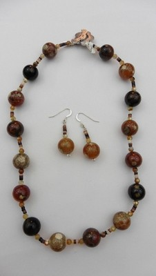 Polka Dot Agate Necklace & Earring Set