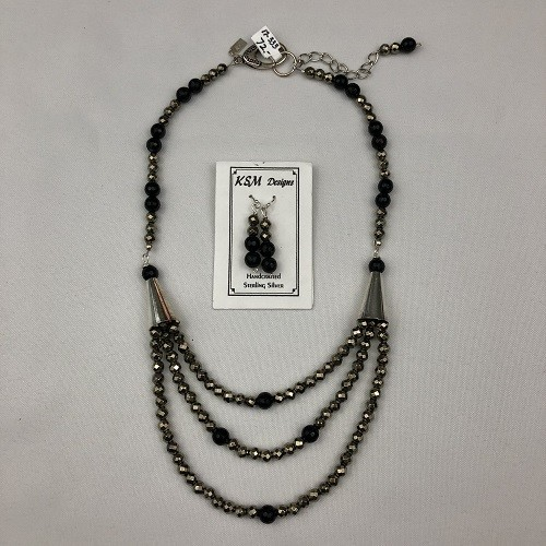 Pyrite & Black Agate Necklace & Earring set